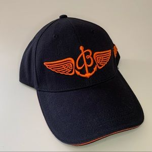 NEW Unisex Breitling Navy Blue Hat, Orange Logo